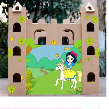 手工制作玩具坦克立体拼图diy涂色新年礼物过年礼物 白雪公主城堡涂色