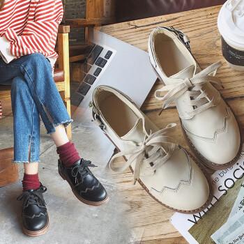 百搭复古软妹小皮鞋女2018春秋新款布洛克鞋学生韩版粗跟系带单鞋 米