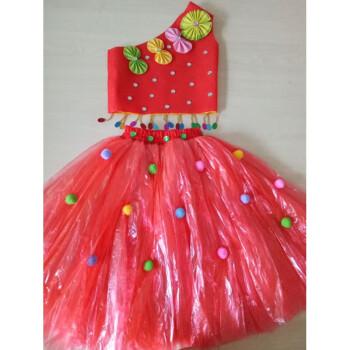 儿童环保演出服装无纺布塑料袋制作衣服时装走秀子装公主裙 红色分体