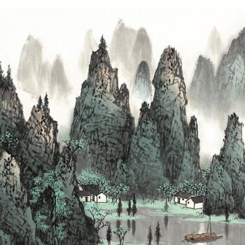 羿木中式客厅装饰画 书房 办公室装饰画国画山水画画