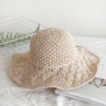 手工钩针草帽韩女士可折叠防晒大檐太阳沙滩帽 10cm菠萝花边光板-粉色