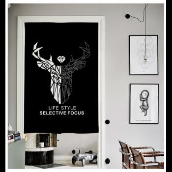 黑白 粗麻布艺门帘卡通隔断帘 厨房布帘卧室挂帘风水帘 黑白鹿 对开式图片