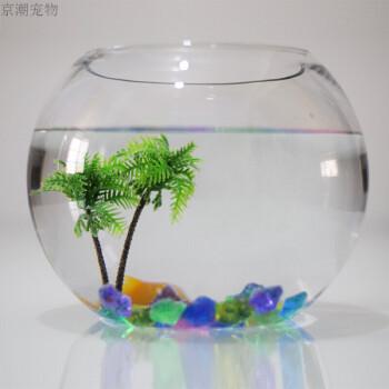 京潮大中小号圆形玻璃金鱼缸乌龟缸创意水族箱办公桌造景鱼缸水培 25