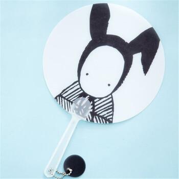 儿童扇子 圆形扇子卡通塑料扇子迷你小扇子 清凉扇手摇扇中长柄手持扇