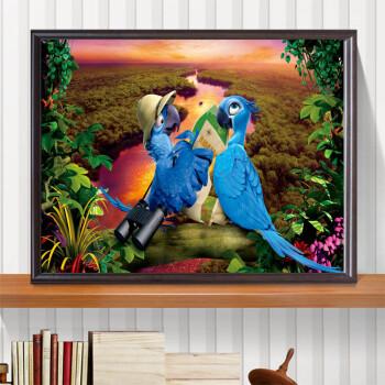 梦坞 现代简约儿童卡通装饰画卧室床头画创意动物挂画墙画书房有框