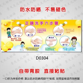 学校幼儿园布置医院标准六步洗手法步骤图卫生间装饰墙贴画d0304 pp