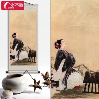 古典美女复古人物工笔画仕女图茶楼会所装饰画卷轴挂画美人艺术画
