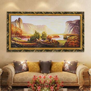 添画 纯手绘风景油画 家庭客厅沙发顶挂画 欧式装饰玄关油画 山水油画