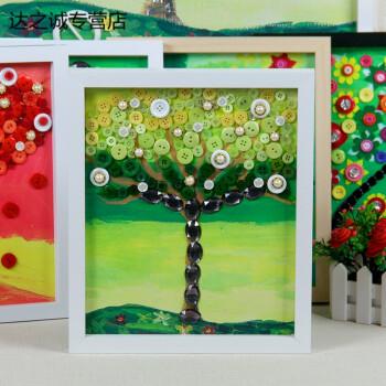 手工制作材料包纽扣画粘贴画装饰油画 幼儿园创意教材 水粉树-春【25*