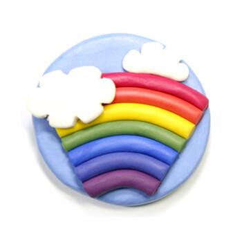 橡皮泥手工制作彩虹棒棒糖
