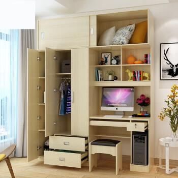 衣柜带书桌写字台衣橱连体学习多功能书桌组合衣柜电脑桌书柜一体衣柜