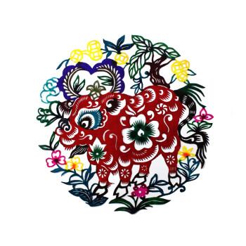 陕西手工彩色剪纸画装饰画窗花民间工艺礼品旅游纪念十二生肖 彩色图片