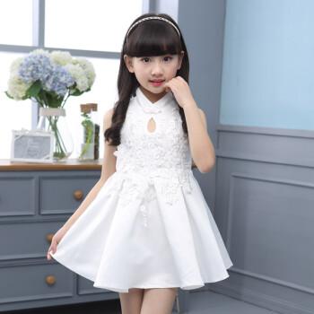 3-13岁女童连衣裙旗袍裙夏季2018新款儿童甜美公主裙中大童女孩无袖复