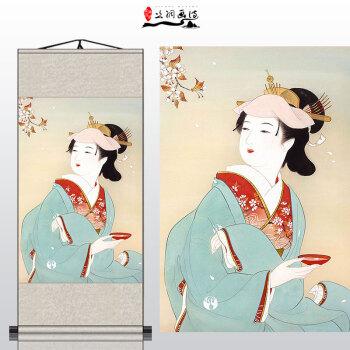 日式风格古代美女艺伎仕女图 丝绸卷轴挂画 料理寿司店装饰已装裱 h
