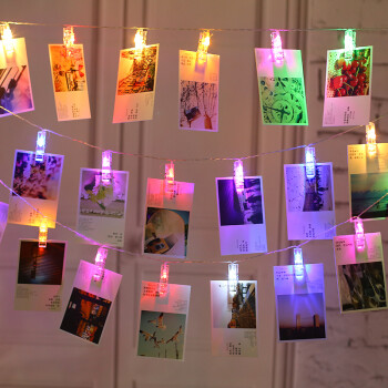 20夹diy相册照片墙发光夹子led灯串带电池盒彩灯闪灯串灯满天星房间