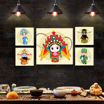艺轩(yixuan) 餐厅装饰画饭厅食堂餐馆挂画京剧q版花旦人物壁画火锅店