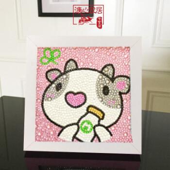 满钻水晶贴手工制作幼儿园创意卡通点点画框玩具【qsjj】 十二生肖-牛