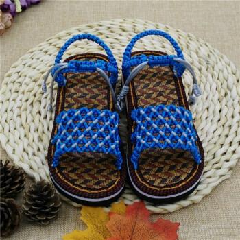 鞋底儿童凉鞋拖鞋中国结线编织男女孩手工鞋成品居家材料包 满天星湖