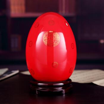 景德镇时尚摆件陶瓷花瓶喜庆工艺品摆设 中国红金蛋瓶