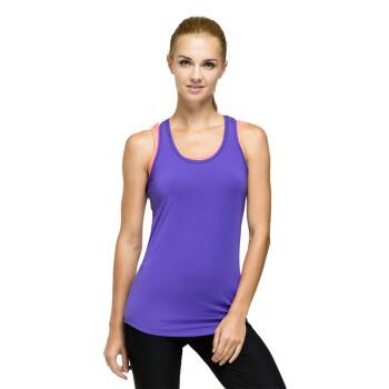 佐纳健身服女瑜伽服女款假两件套修身跑步运动背心FC13313 熏衣紫/花粉 XL