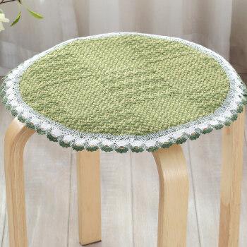 圆凳椅子垫夏季圆形坐垫圆凳坐垫学生餐椅垫圆凳子套 圆形绿色编织