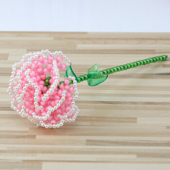 手工diy串珠玫瑰花编织制作工艺品材料包珠子花瓶饰品