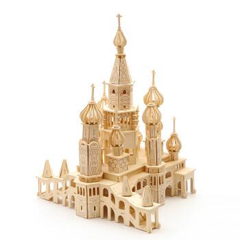 木制立体拼图3d高难度木质建筑手工制作木头模型超大城堡 圣彼得堡