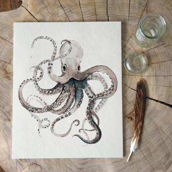 数字油画现代简约填色手绘背景装饰挂画 北欧植物花卉龟背树叶 章鱼