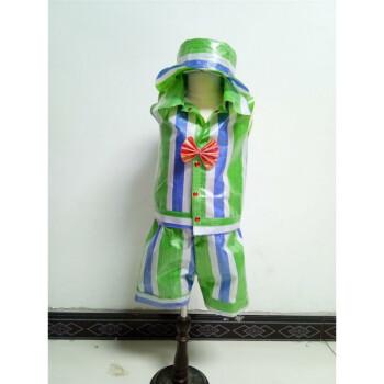 六一儿童环保服手工制作时装秀演出服幼儿园服装男亲子走秀礼服 绿色