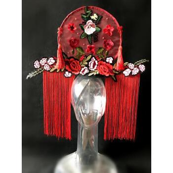 中国红青花瓷系列头饰走秀模特比赛头饰夸张头饰彩妆造型头饰发饰sn图片