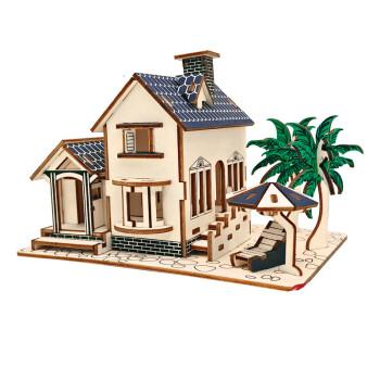 高难度3diy木质立体拼图建筑手工拼装模型木头房子拼插积木制 海滨