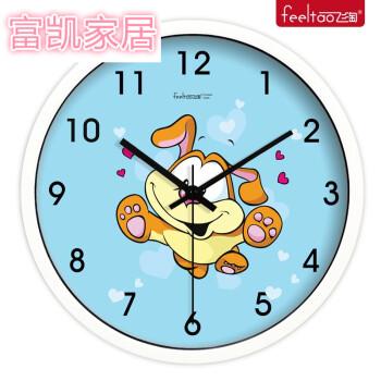 创意卡通挂钟 钟表儿童房可爱静音 卧室客厅 石英钟432 434金属白框 1图片