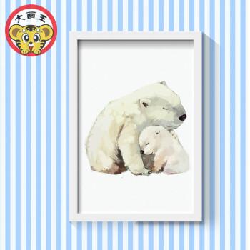 diy数字油画属兔情侣青少年儿童小动物填色手绘油画家庭小清新画sn238