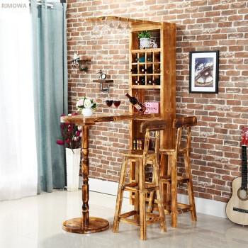 新款美式小吧台家用吧台酒柜隔断柜客厅靠墙吧台桌椅实木家庭吧台酒吧图片