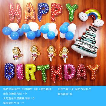 生日派对装饰生日百天装饰气球墙面套餐背景满月宝宝周岁布置彩色百天