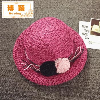 2017韩版儿童沙滩帽卷边遮阳草帽女童帽子夏季新款手工太阳帽防晒 玫
