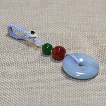 德姆仕 平安扣 创意男女翡翠情侣汽车钥匙扣南红玛瑙钥匙挂件 银灰色