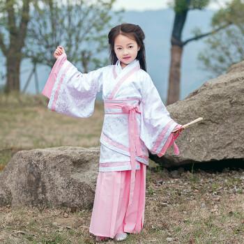 小女孩幼鲍_小女孩幼儿童仙女古装宝宝古代棉麻传统国学襦裙汉服曲裾表演出服 上