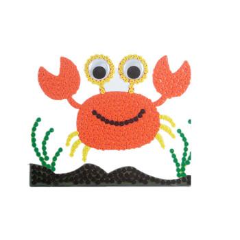 幼儿园儿童手工制作创意纽扣粘贴画花diy材料包 螃蟹