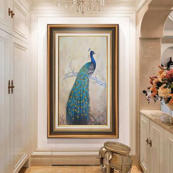 佰水峰 欧式美式玄关装饰画 走廊过道壁画竖版孔雀入户墙画书房墙面挂
