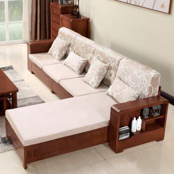 实木沙发转角贵妃组合 新中式客厅家具布艺冬夏两用橡胶木沙发 三人位