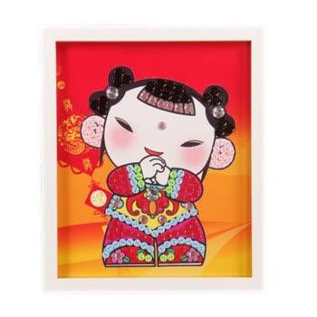 新年春节礼物儿童纽扣粘贴画幼儿园手工制作diy材料包子创意画 女福