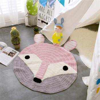 纯手工钩织动物地垫儿童毯子游戏垫客厅地毯书房小圆垫 狐狸 直径80