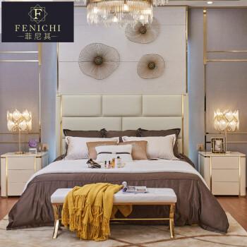 8米超纤皮床主卧室双人床高档港式轻奢卧室家具 米白色超纤皮软包图片