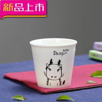 十二生肖陶瓷茶杯100毫升小茶杯可爱青花瓷杯子卡通陶瓷杯2两酒杯 龙
