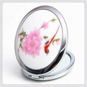 诗拜 迷你双面化妆镜镜子 古风折叠便携圆形复古小镜子 七彩凤雀图片
