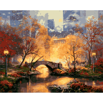 数字油画diy田园风景油彩填色画欧式山水手工画客厅装饰挂画手工填色
