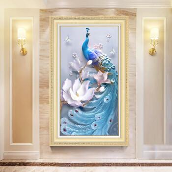 积善 欧式玄关装饰画竖版客厅卧室走廊挂画过道美式简约现代鲜花油画图片