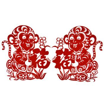 猴年春节窗花剪纸植绒布剪纸猴年对贴剪纸福到我家剪