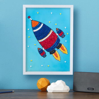 幼儿园纽扣画diy材料包手工制作儿童益智粘贴画子宝宝创意贴画 火箭 3